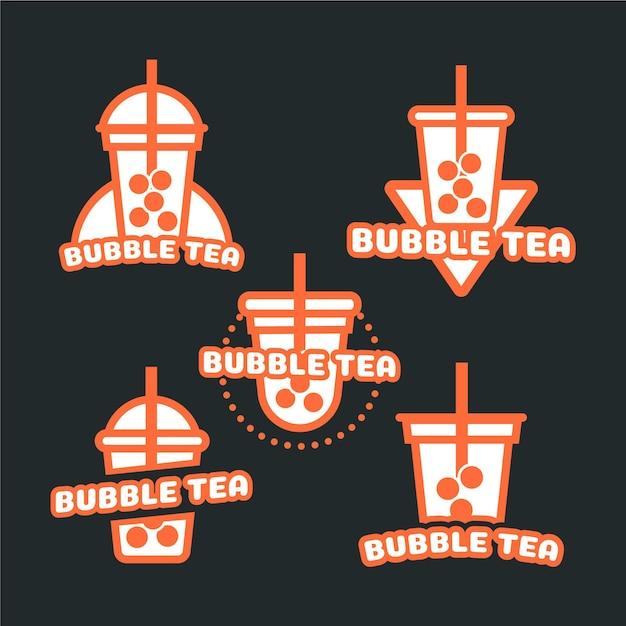 Coleção de logotipo do bubble tea Vetor Premium
