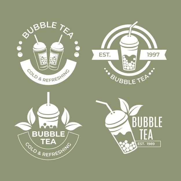 Coleção de logotipo do bubble tea Vetor grátis