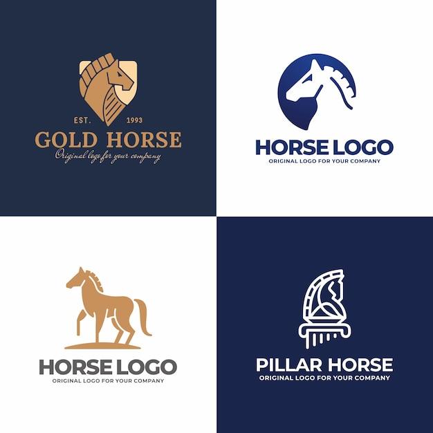 Coleção de logotipo do cavalo criativo. Vetor Premium