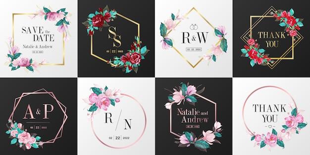 Coleção de logotipo do monograma de casamento. aquarela moldura floral para design de cartão de convite. Vetor grátis