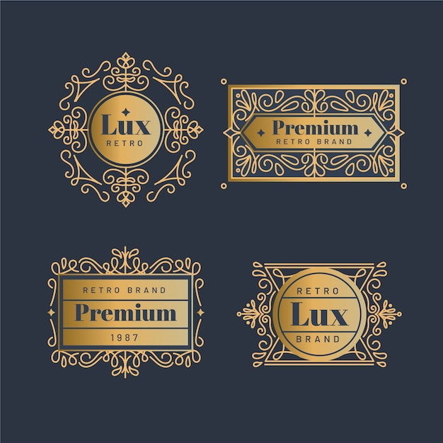 Coleção de logotipo dourado retrô de luxo Vetor grátis