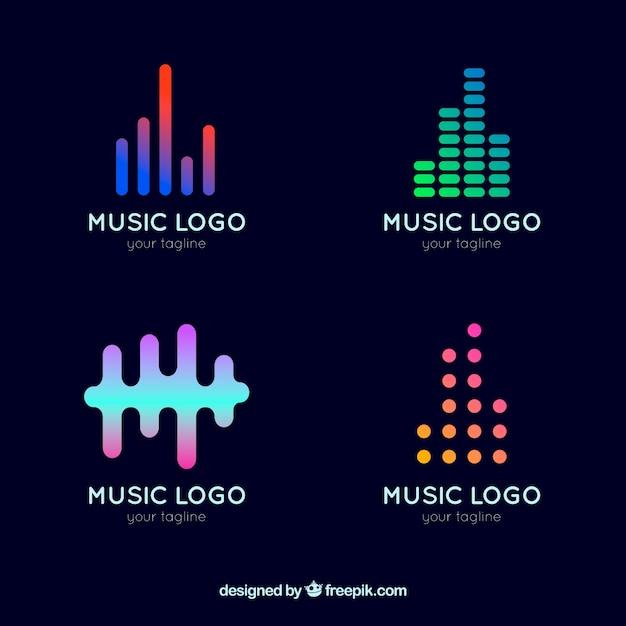 Coleção de logotipo equalizador com estilo gradiente Vetor grátis