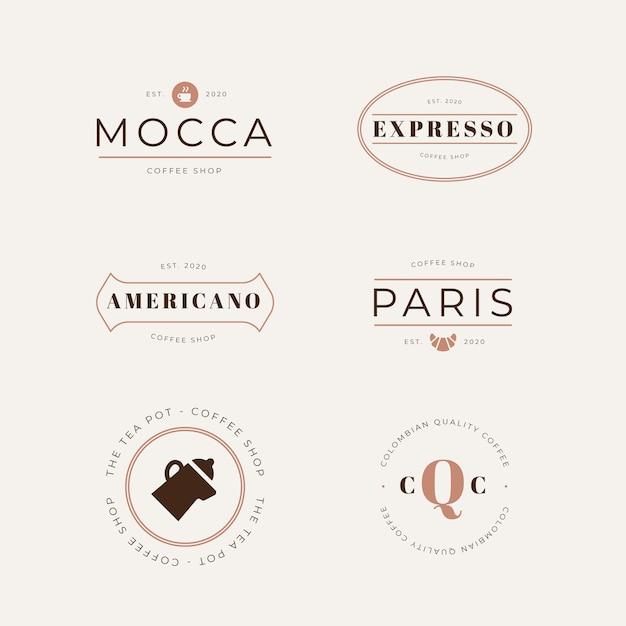 Coleção de logotipo estilo retro café Vetor grátis