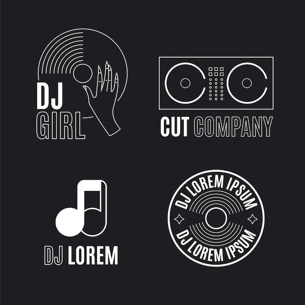 Coleção de logotipo flat dj Vetor grátis