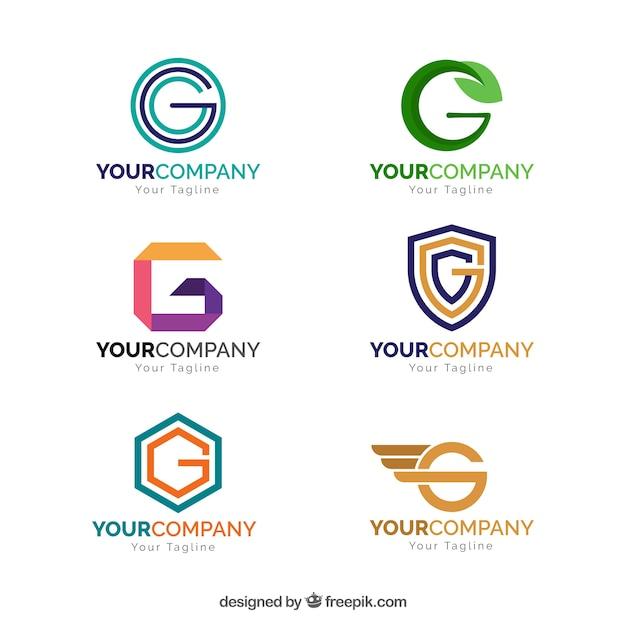 Coleção de logotipo geométrico da letra g Vetor grátis