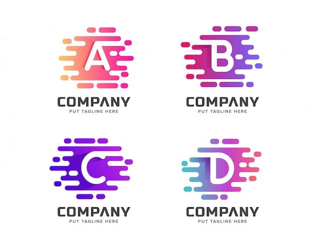 Coleção de logotipo inicial criativa letra colorida para negócios Vetor Premium