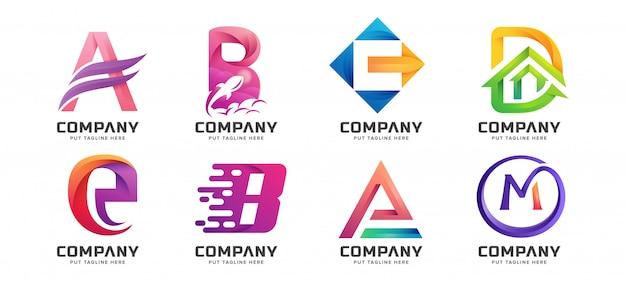 Coleção de logotipo inicial de letra colorida Vetor Premium