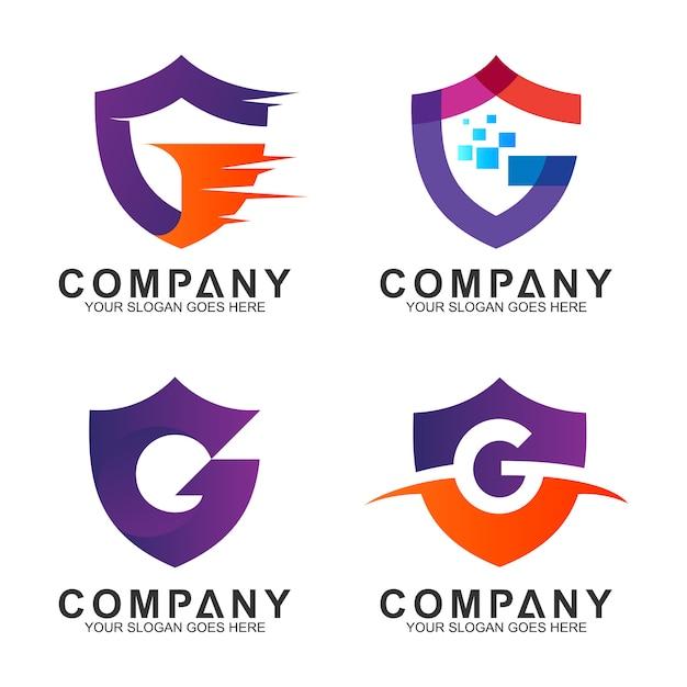 Coleção de logotipo letra g negócios escudo Vetor Premium