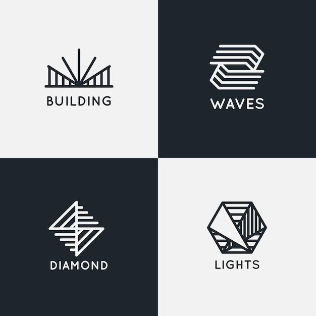 Coleção de logotipo linear abstrato Vetor grátis