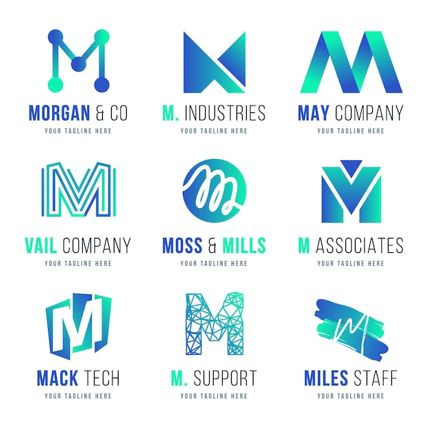 Coleção de logotipo m Vetor Premium