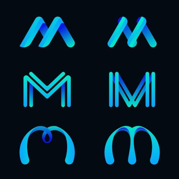 Coleção de logotipo m Vetor grátis