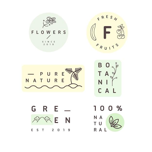 Coleção de logotipo mínimo de negócios naturais Vetor grátis