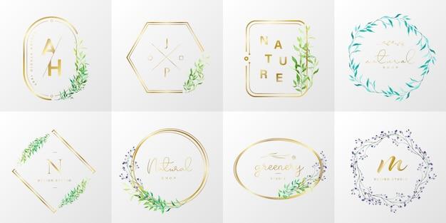 Coleção de logotipo natural e orgânico para branding, identidade corporativa. moldura de ouro com floral em estilo aquarela Vetor grátis