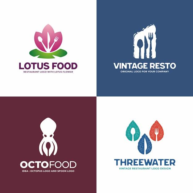 Coleção de logotipo restaurante criativo. Vetor Premium