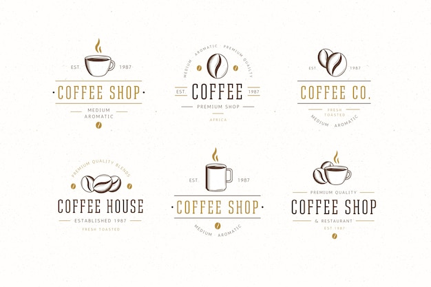 Coleção de logotipo retrô de café Vetor Premium