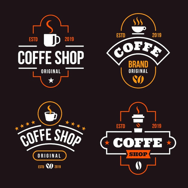 Coleção de logotipo retrô de café Vetor grátis