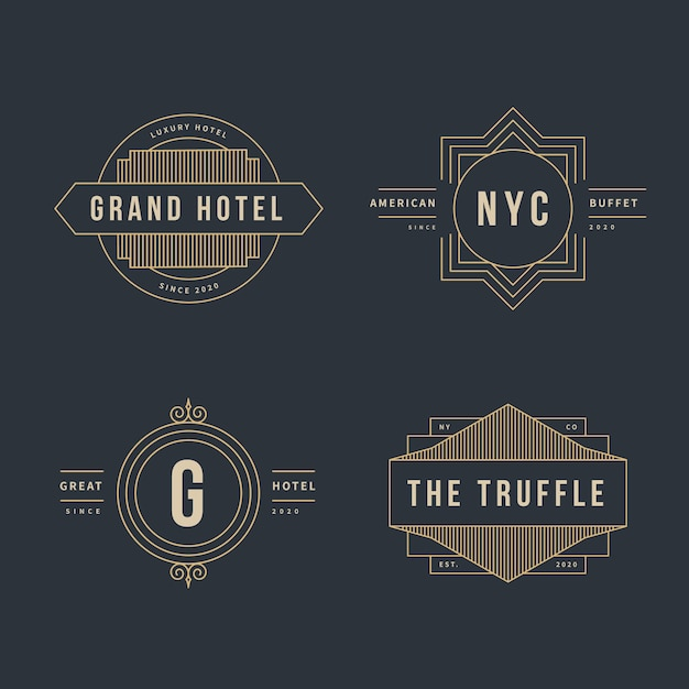 Coleção de logotipo retrô de luxo para diferentes empresas Vetor grátis