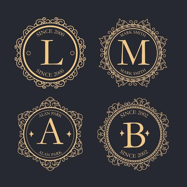 Coleção de logotipo retrô de luxo Vetor grátis