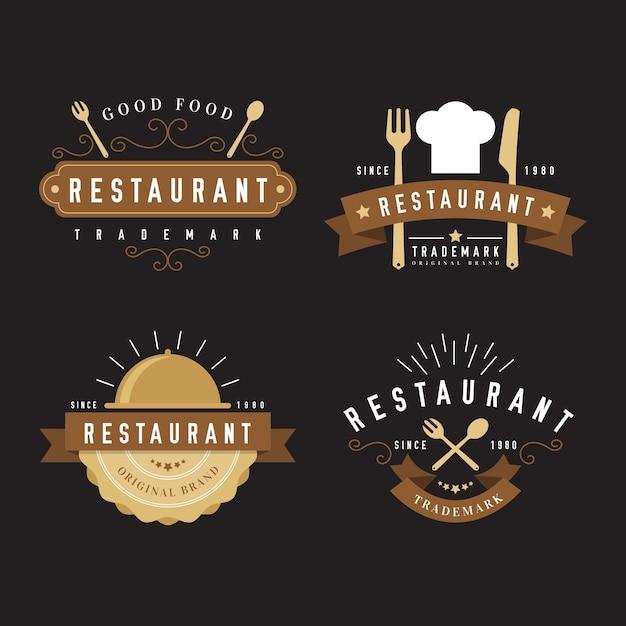 Coleção de logotipo retrô de restaurante com chapéu de chef Vetor grátis
