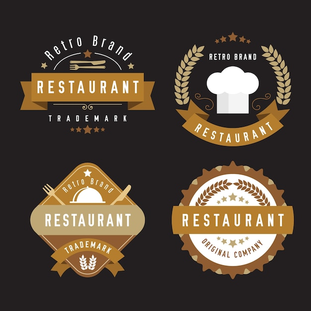 Coleção de logotipo retrô de restaurante com talheres Vetor grátis