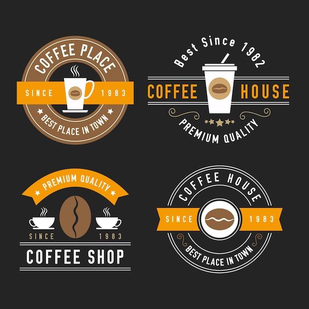 Coleção de logotipo retrô para café Vetor grátis