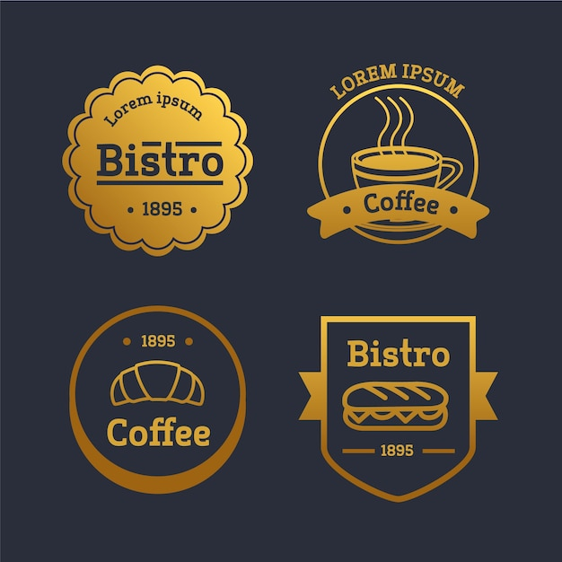 Coleção de logotipo retrô restaurante dourado Vetor grátis