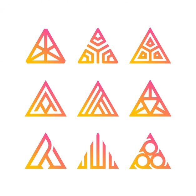 Coleção de logotipo triangular Vetor Premium