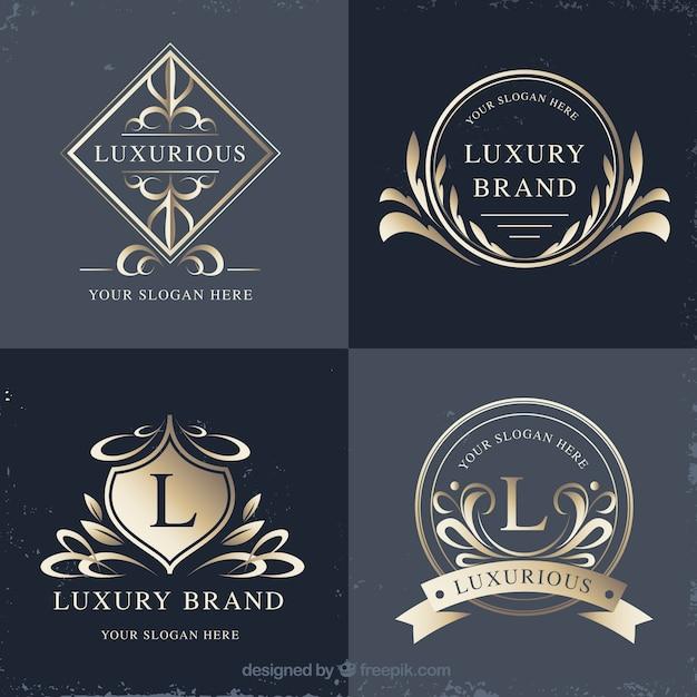 Coleção de logotipos com estilo vintage e luxo Vetor grátis