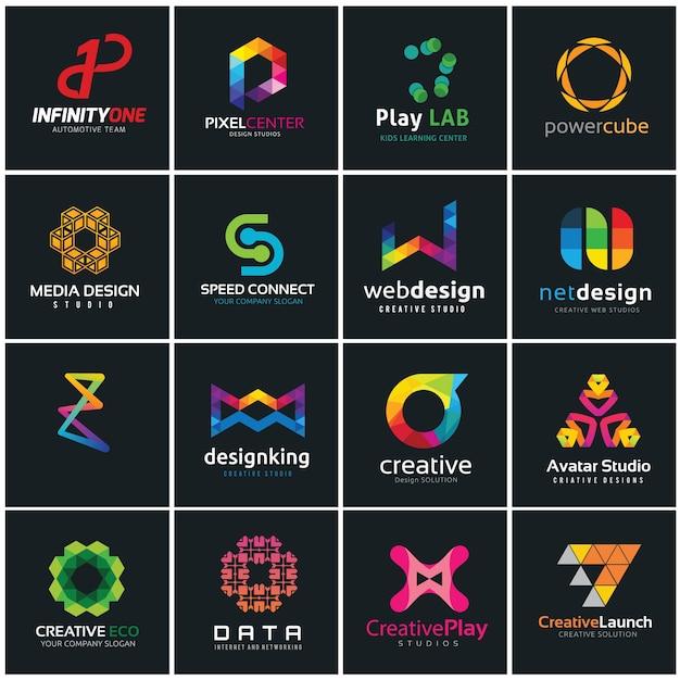 Coleção de logotipos criativos, mídia e modelo de design de logotipo de ideia criativa. Vetor Premium