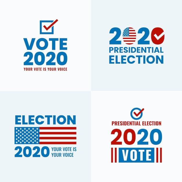 Coleção de logotipos da eleição presidencial dos eua de 2020 Vetor Premium