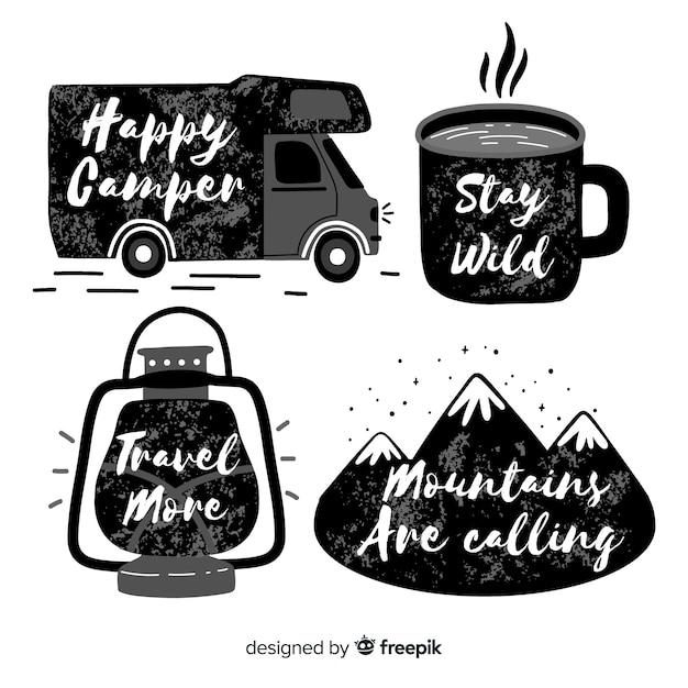 Coleção de logotipos de aventura desenhada de mão Vetor grátis