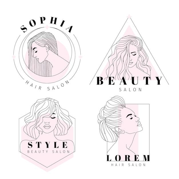 Coleção de logotipos de cabeleireiro desenhado à mão Vetor grátis