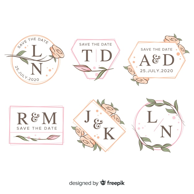 Coleção de logotipos de casamento do monograma Vetor grátis