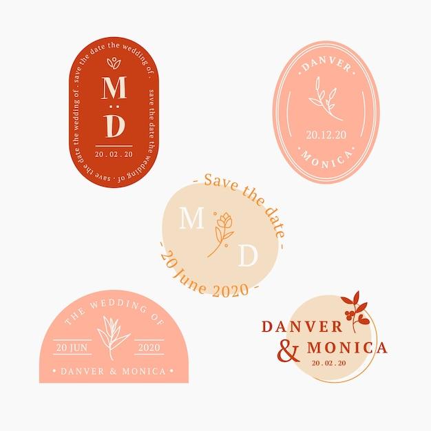 Coleção de logotipos de casamento em design plano Vetor grátis