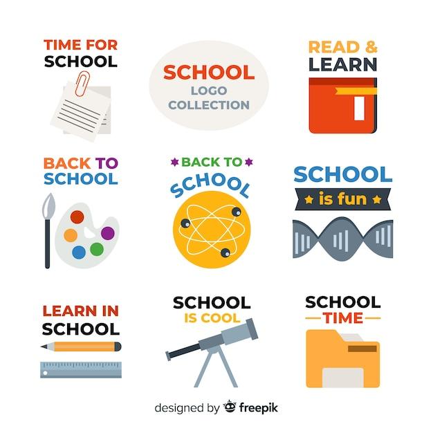 Coleção de logotipos de escola plana Vetor grátis