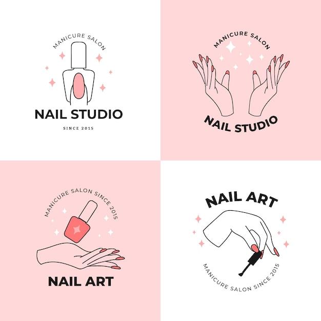 Coleção de logotipos de estúdio de arte de unhas Vetor Premium