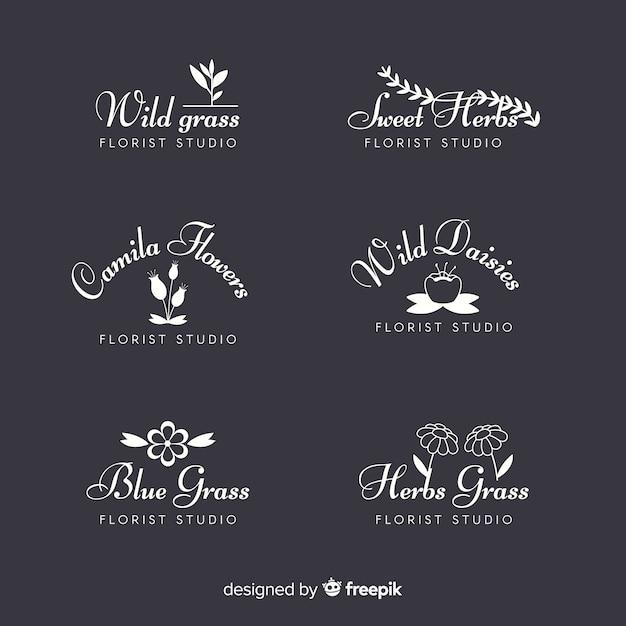 Coleção de logotipos de florista de casamento Vetor grátis