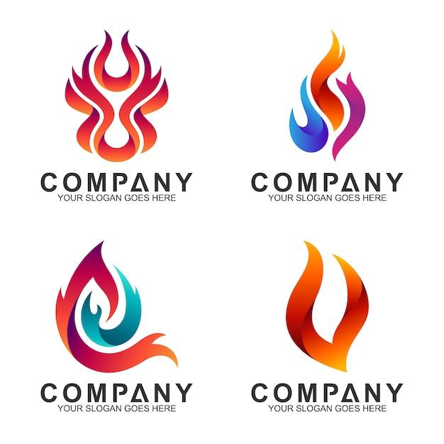 Coleção de logotipos de fogo abstrata Vetor Premium