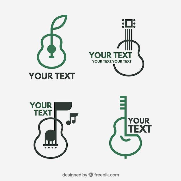 Coleção de logotipos de guitarra Vetor grátis