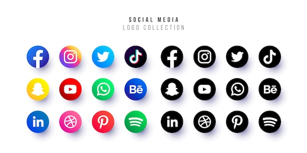 Coleção de logotipos de mídia social Vetor grátis