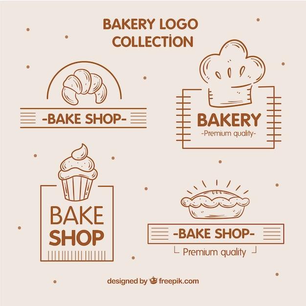 Coleção de logótipos de padaria em estilo desenhado a mão Vetor Premium