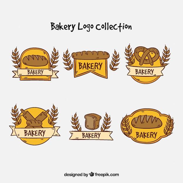 Coleção de logotipos de padaria em estilo desenhado a mão Vetor grátis