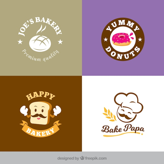 Coleção de logótipos de padaria em estilo plano Vetor grátis