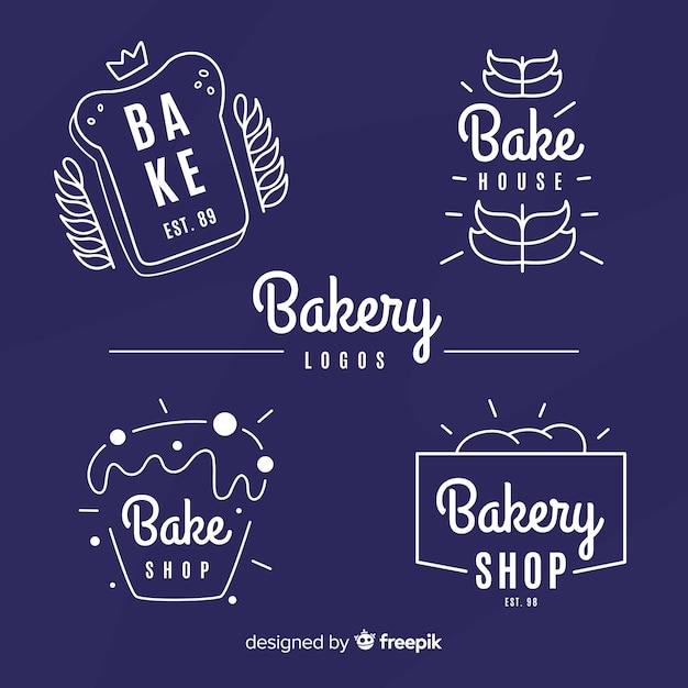 Coleção de logotipos de padaria simples Vetor grátis