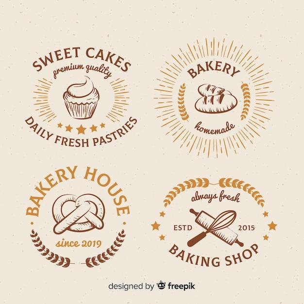 Coleção de logotipos de padaria vintage Vetor grátis