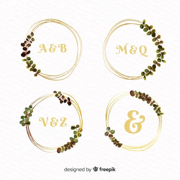 Coleção de logotipos de quadro de casamento em aquarela Vetor grátis