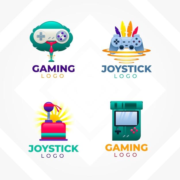 Coleção de logotipos de videogame para empresas em estilo gradiente Vetor Premium