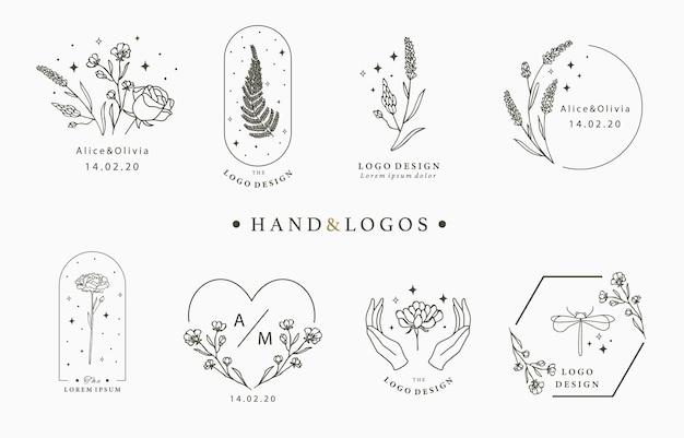 Coleção de logotipos desenhados à mão Vetor Premium