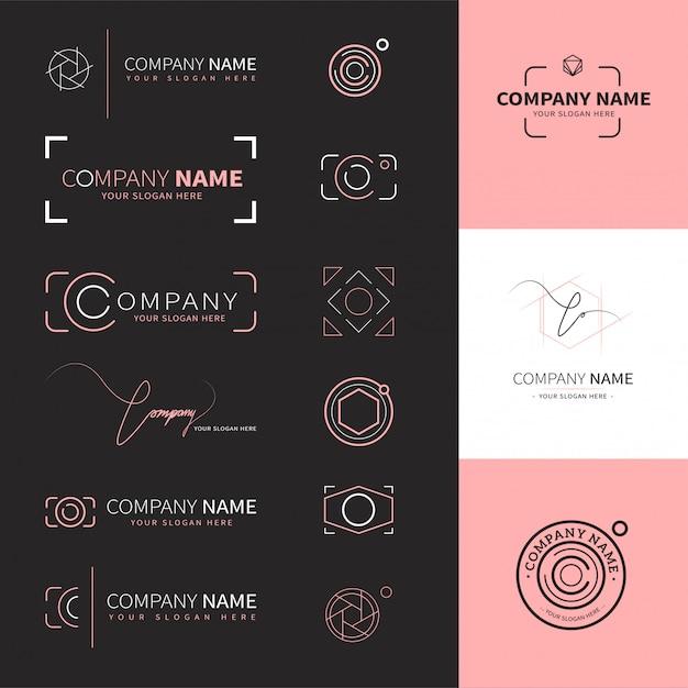 Coleção de logotipos elegantes e modernos para fotógrafos Vetor Premium