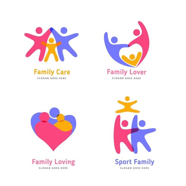 Coleção de logotipos familiares coloridos Vetor grátis